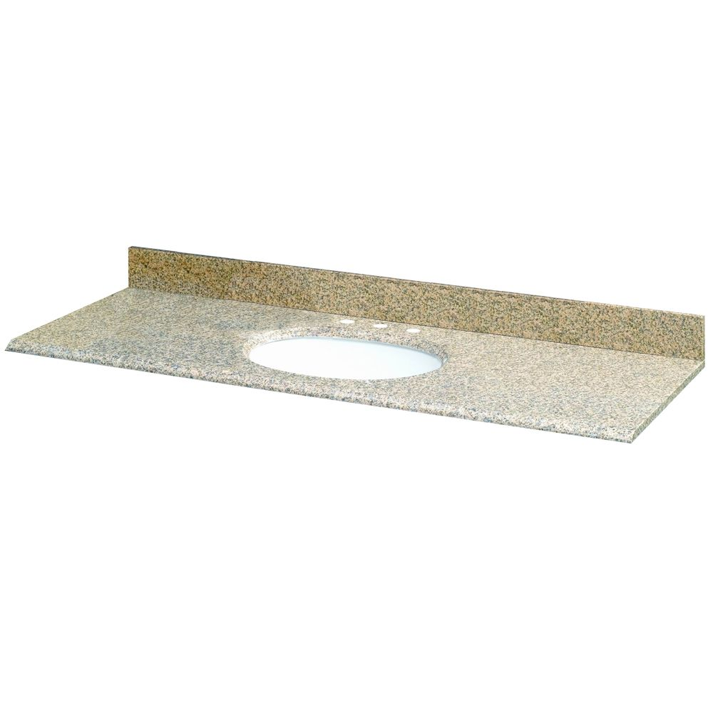 61-Inch W x 22-Inch D Granite Vanity Top in Montesol with White Bowl