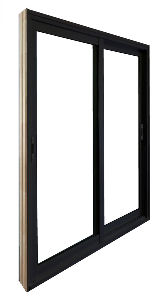 60-inch x 80-inch Black Double Sliding Patio Door