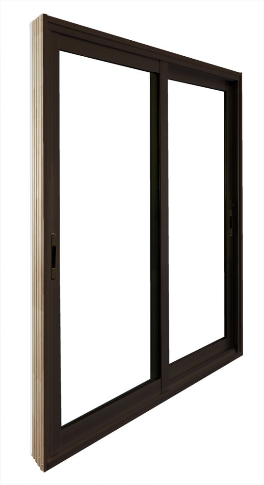 60-inch x 80-inch Brown Double Sliding Patio Door