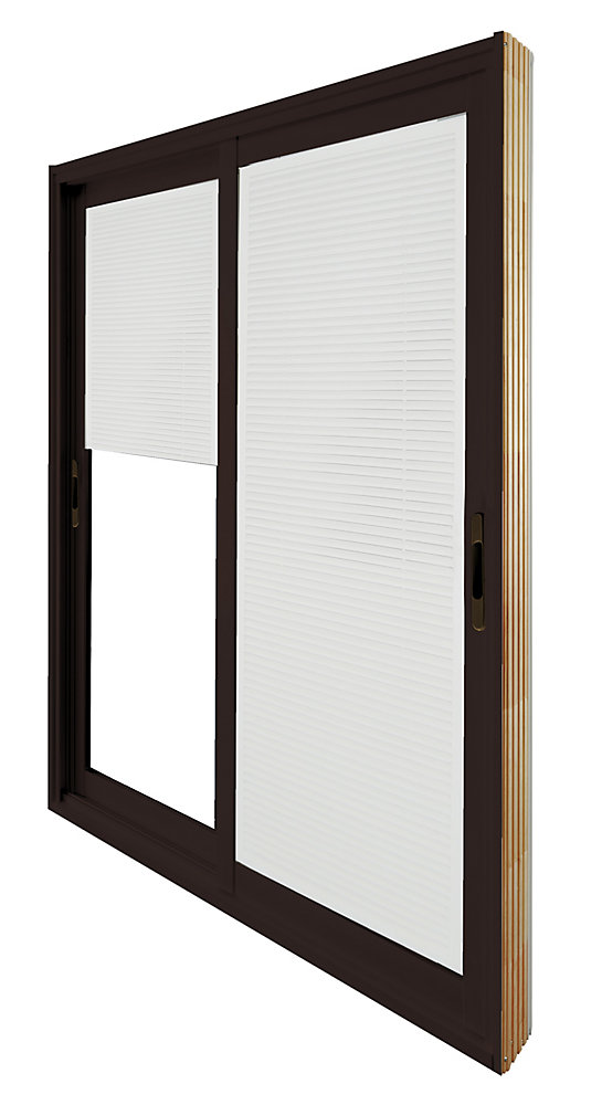 59.75 inch x 79.75 inch Clear LowE Painted Commercial Brown Double Sliding Vinyl Patio Door with Internal Mini Blinds - ENERGY STAR®