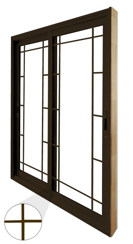 72-inch x 8-inch Brown Double Sliding Patio Door Prairie Style Internal Grill