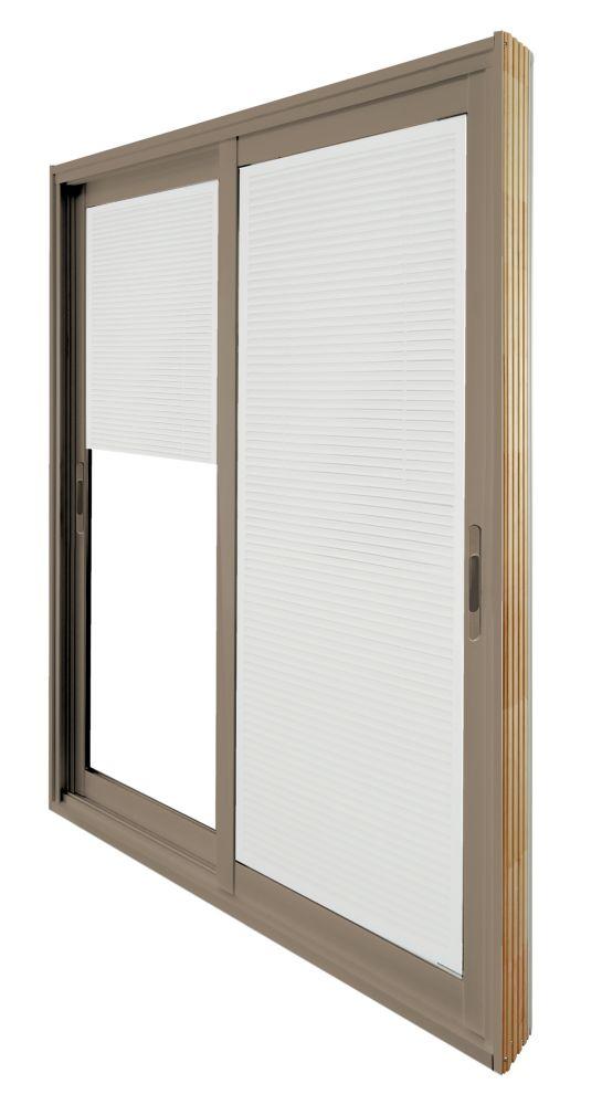 60-inch x 80-inch Sandstone Double Sliding Patio Door with Internal Mini Blinds