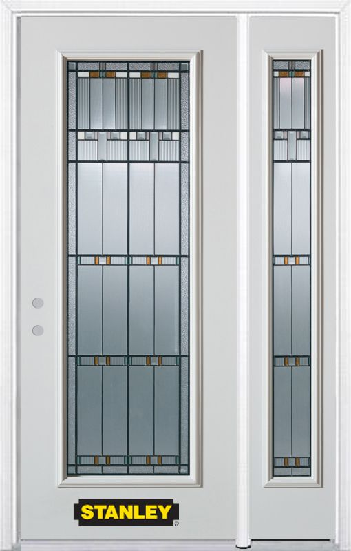 52-inch x 82-inch Chicago Full Lite White Steel Entry Door with Sidelite and Brickmould