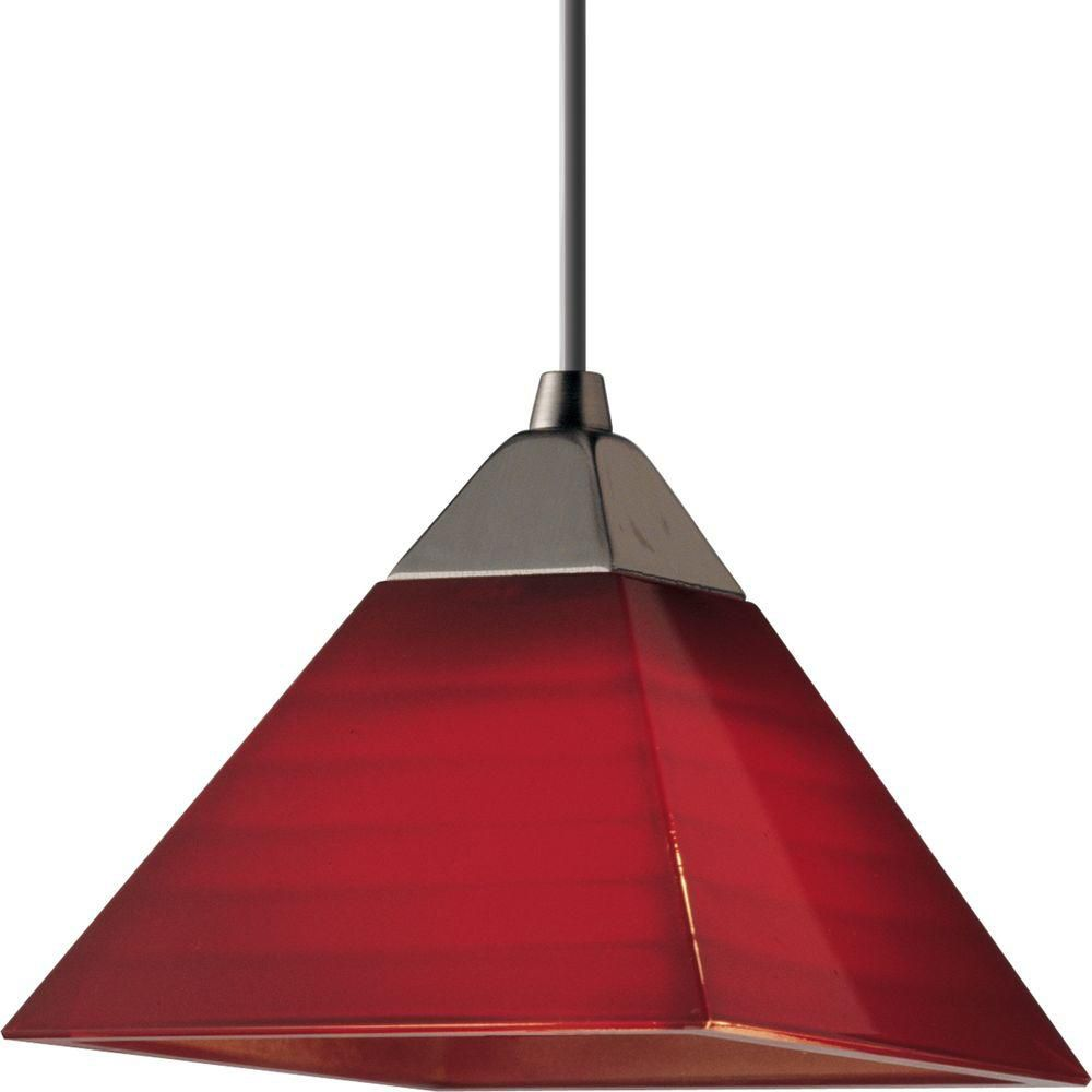 Progress Lighting Illuma-Flex 1-Light 50W Brushed Nickel Red Glass Pendant