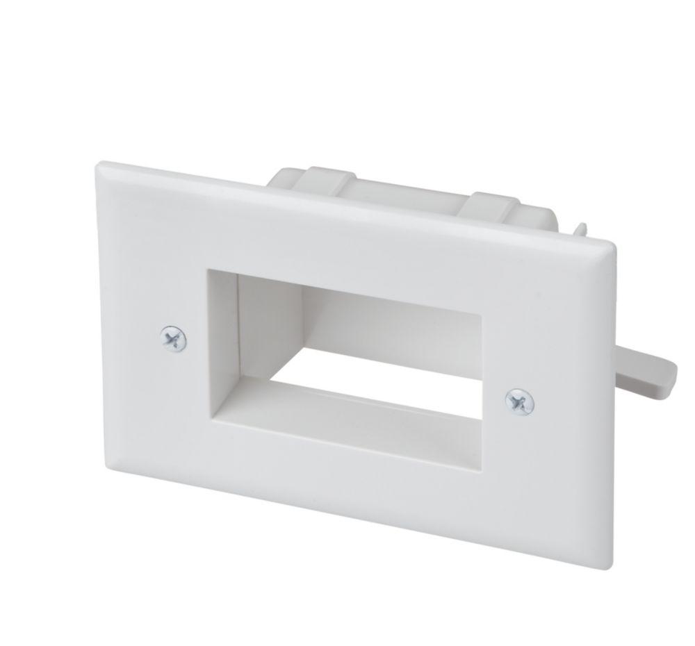 Plaque encastrée pour câble basse tension, blanc