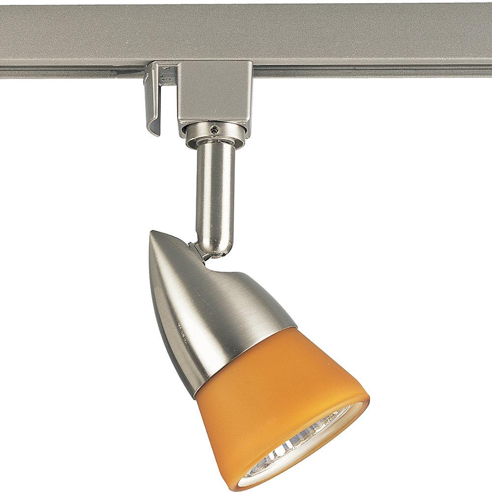 Alpha Trak 50W 1-Light Brushed Nickel Amber Glass Track Head