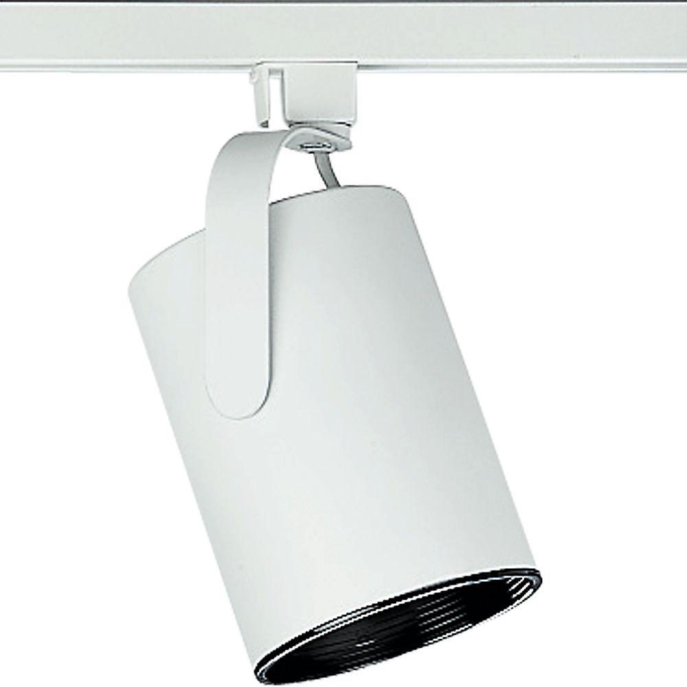 Alpha Track 75W 1-Light White Finish Flatback Style Track Lighting Head