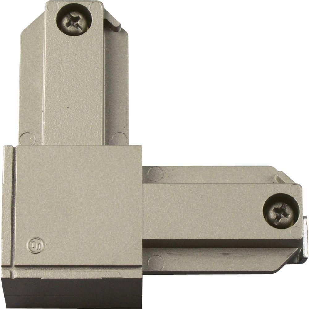 Brushed Nickel Track Accessory, L Connector - Outside Polarity