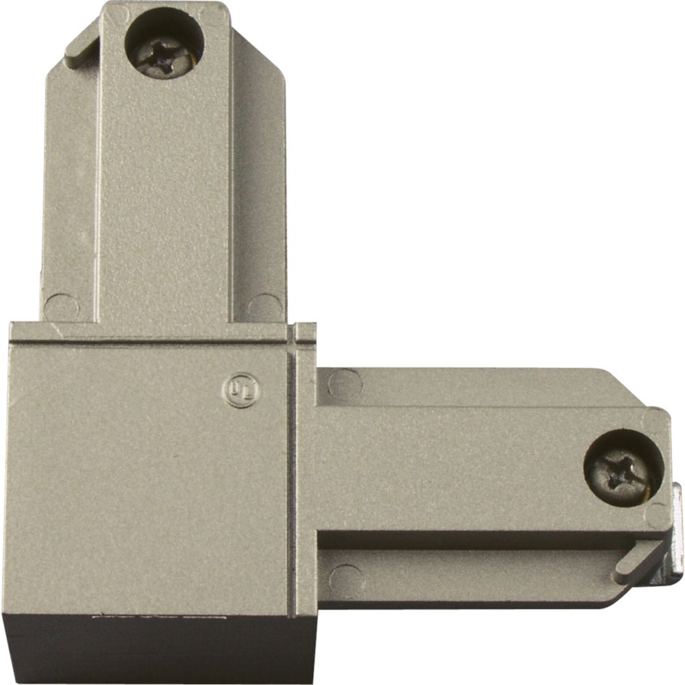 Brushed Nickel Track Accessory, L Connector - Inside Polarity
