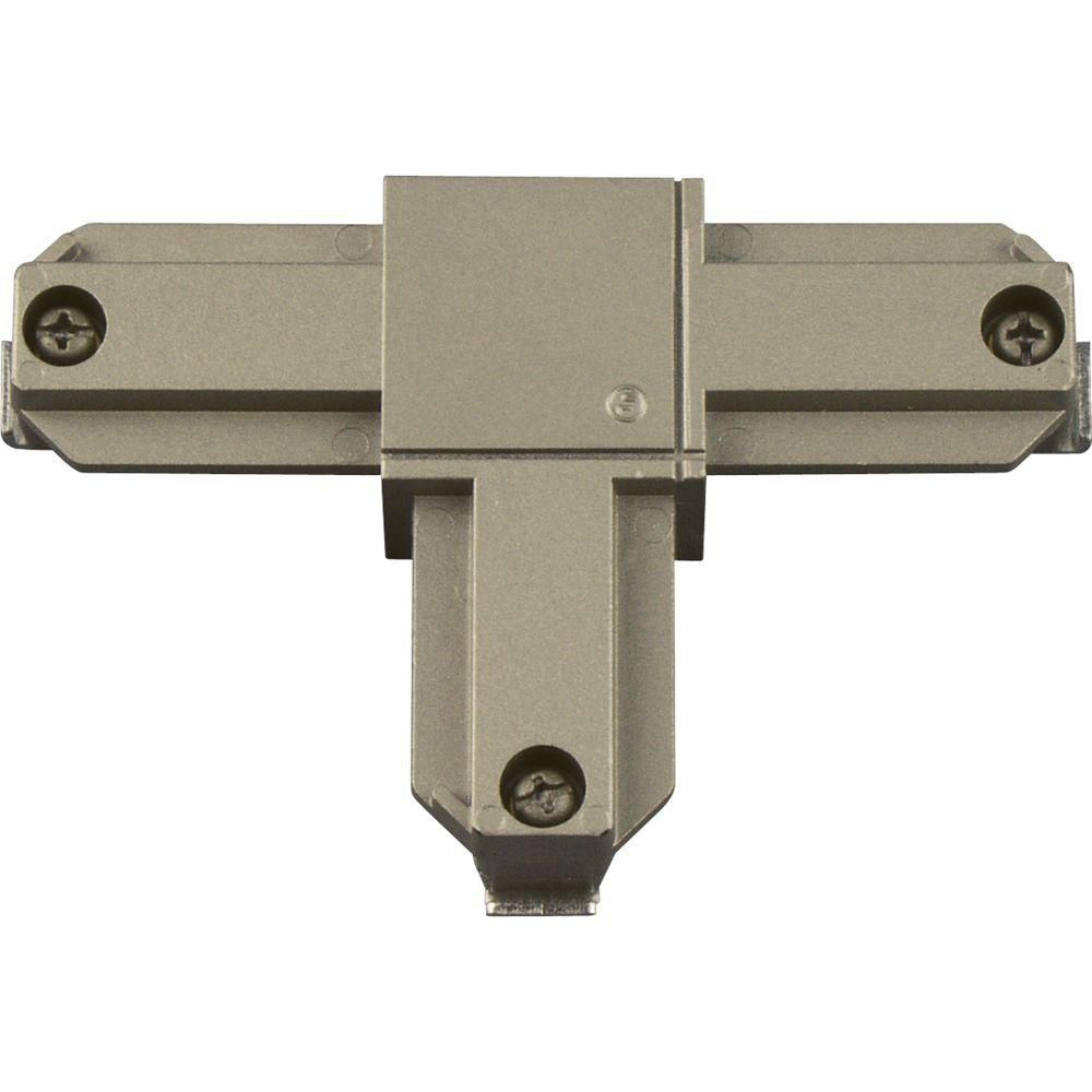 Brushed Nickel Track Accessory, T Connector - Inside Right Polarity