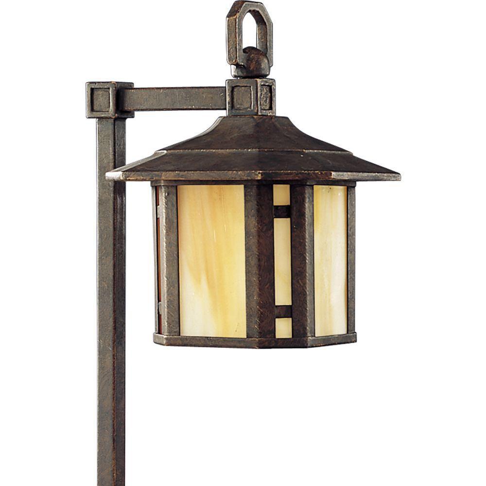 Éclairage du chemin decoratif à 1 Lumière, Collection Arts and Crafts - fini Bronze Patiné