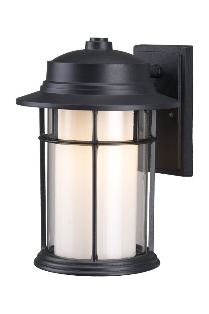 Charlotte 13 Inch Outdoor Black Lantern, Clear/Flat Opal Glass