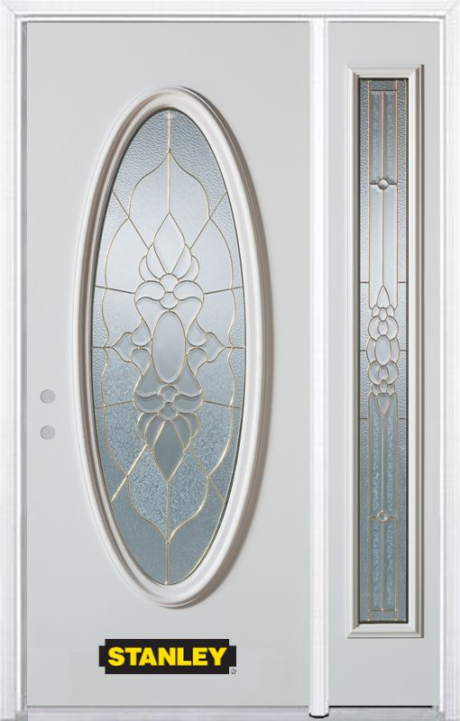 Porte dentrée en acier préfini en blanc, munie dun verre ovale, 49 po x 82 po avec panneaux latér...
