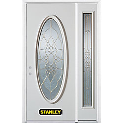 Stanley Doors Porte dentrée en acier préfini en blanc, munie dun verre ovale, 49 po x 82 po avec panneaux latéraux et moulure de brique