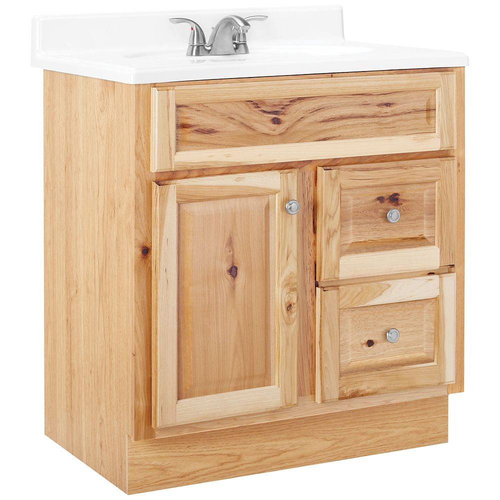american classics hampton 30 inch w vanity in natural hickory finish the home depot canada. Black Bedroom Furniture Sets. Home Design Ideas