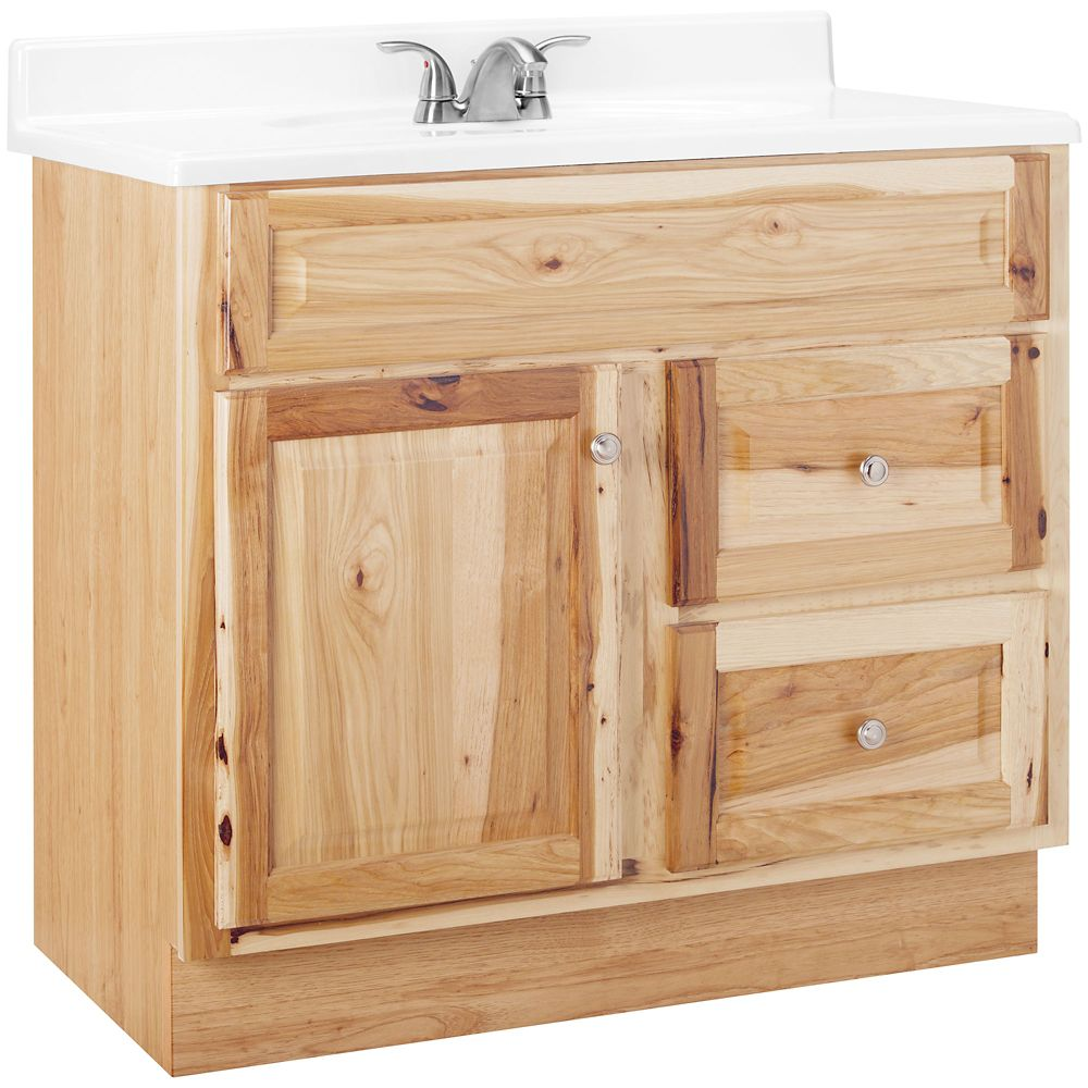 36 inch w vanity in natural hickory finish the home depot canada