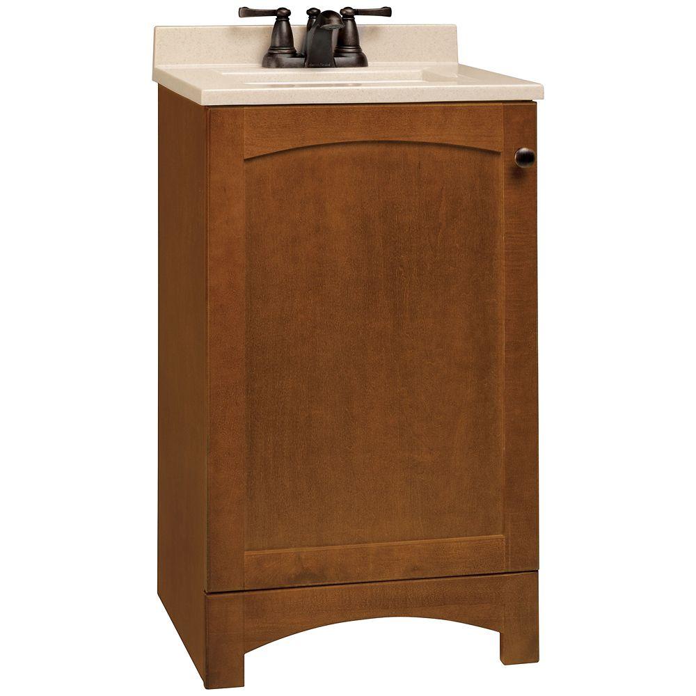 Meuble-lavabo Melborn couleur châtaigne avec dessus à revêtement massif - 18,5 po de largeur