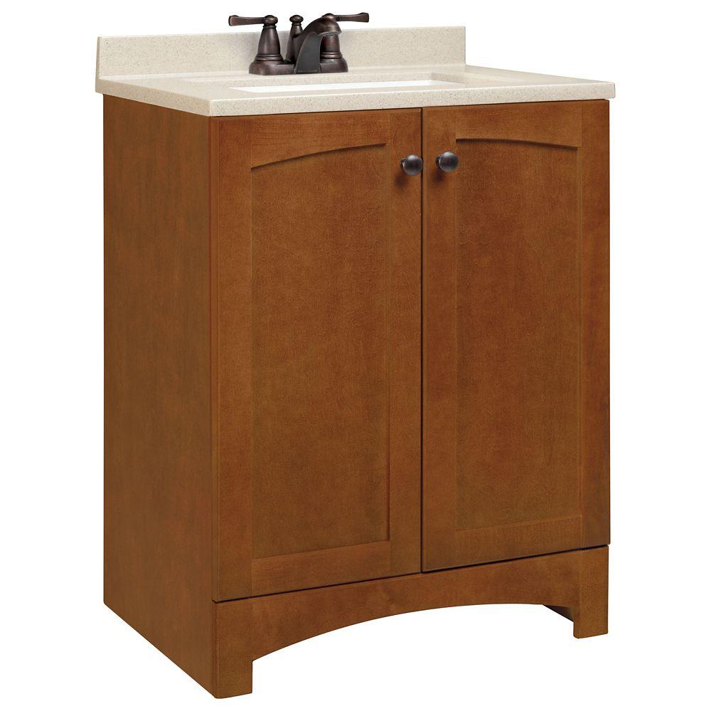 Meuble-lavabo Melborn couleur châtaigne avec dessus à revêtement massif - 25 po de largeur