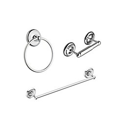 MOEN Yorkshire Bath Accessory Kit (3-Piece) with Towel Bar, Towel Ring and Paper Holder in Chrome