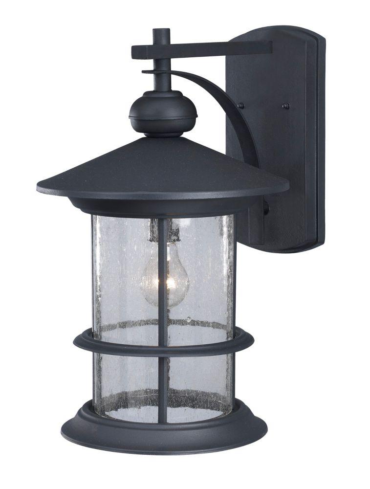 Ryder 19 Inch Outdoor Black Lantern, Seeded Glass