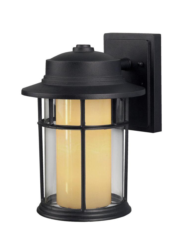 Canarm Ltd. Charlotte 11.5 Inch Outdoor Black Lantern, Clear/Flat Opal Glass