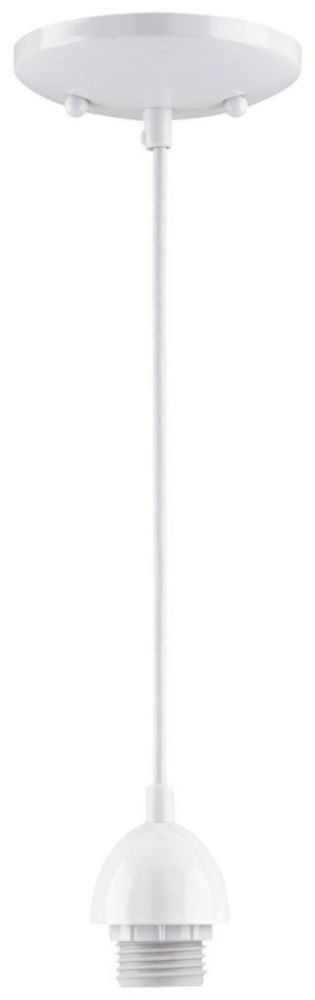 One-Light Adjustable Mini Pendant, White Finish