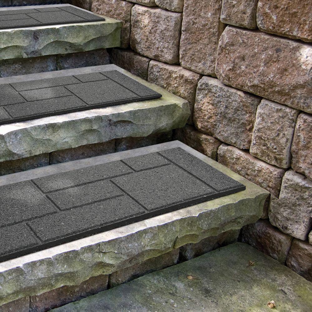 Envirotile Cobblestone Grey Stair Tread - 10 Inch x 24 Inch