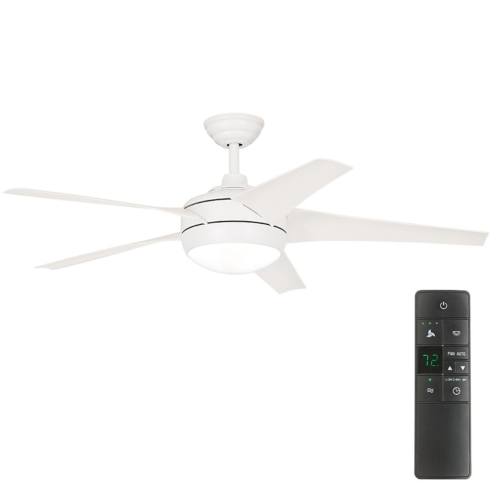 Home Decorators Collection Windward IV 52-inch LED Indoor Matte White Ceiling Fan with Light Kit and Remote Control