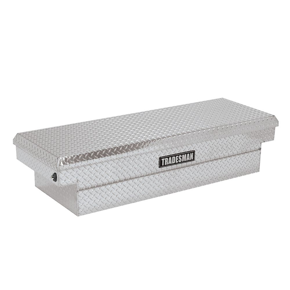 67  inch Cross Bed Truck Tool Box, Mid Size, Single Lid, Push Button, Aluminum