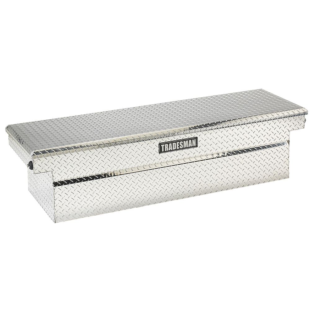 60  inch Cross Bed Truck Tool Box, Mid Size, Single Lid, Deep Well, Push Button, Aluminum