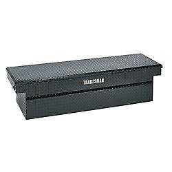 Tradesman 60  inch Cross Bed Truck Tool Box, Mid Size, Single Lid, Deep Well, Push Button, Aluminum, Black