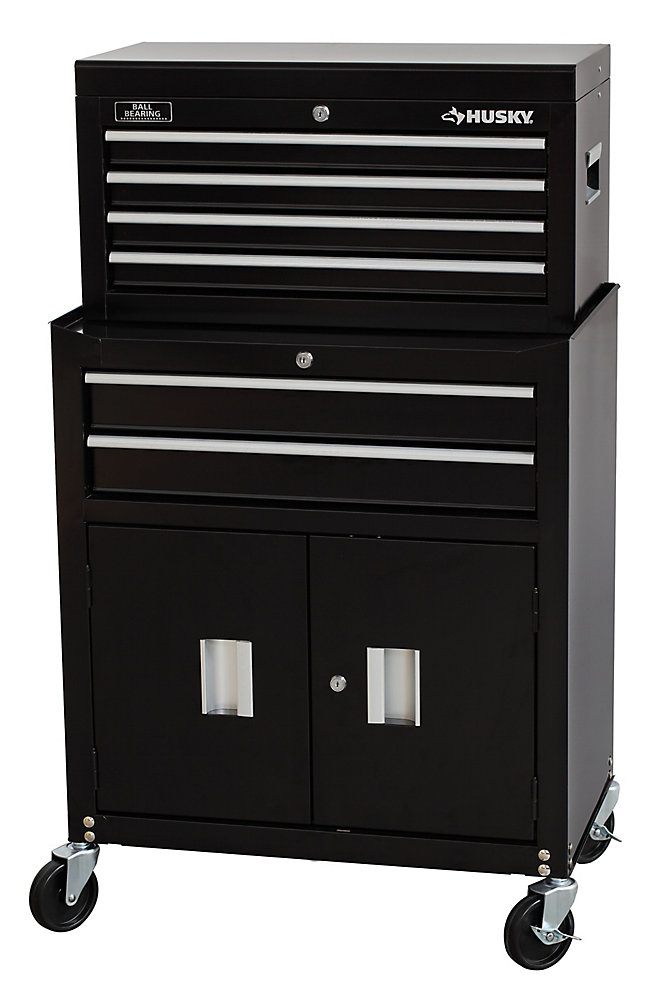 26-inch 6-Drawer Tool Chest and Cabinet Combo in Black