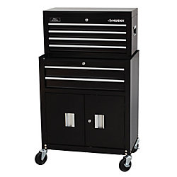 HUSKY 26-inch 6-Drawer Tool Chest and Rolling Tool Cabinet Set, Black