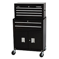 26-inch 6-Drawer Tool Chest and Rolling Tool Cabinet Set, Black
