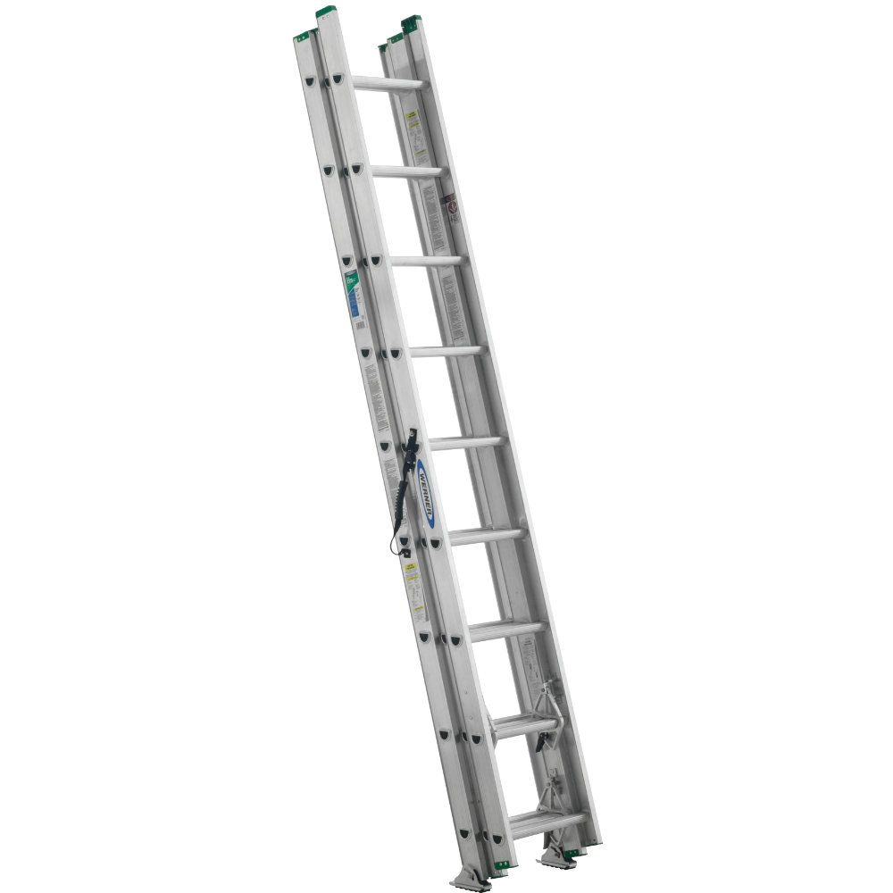 24 feet Aluminum 3 Section Compact Extension Ladder 225 lbs. Load Capacity (Type II Duty Rating)