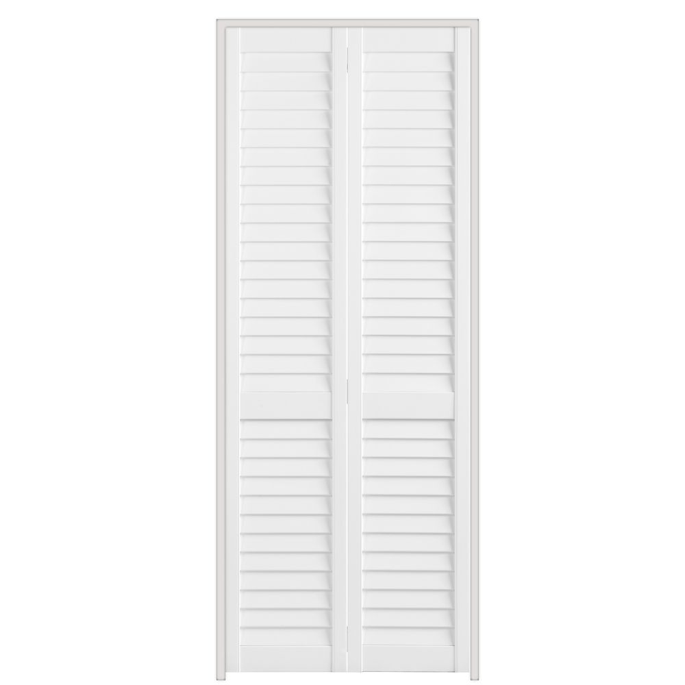 Masonite 30 inch x 79 inch full louvre plantation bifold for Porte placard 60 x 30