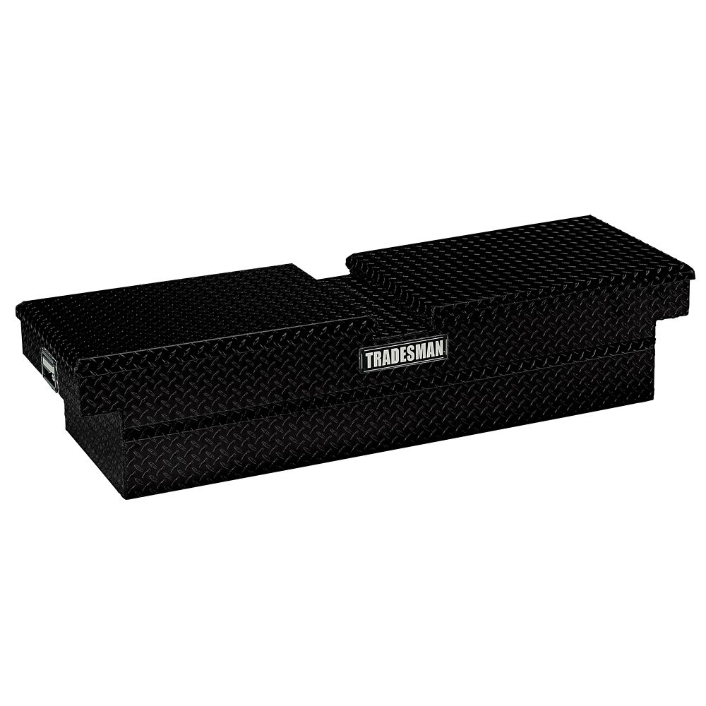 63  inch Cross Bed Truck Tool Box, Mid Size, Gull Wing, Aluminum, Black