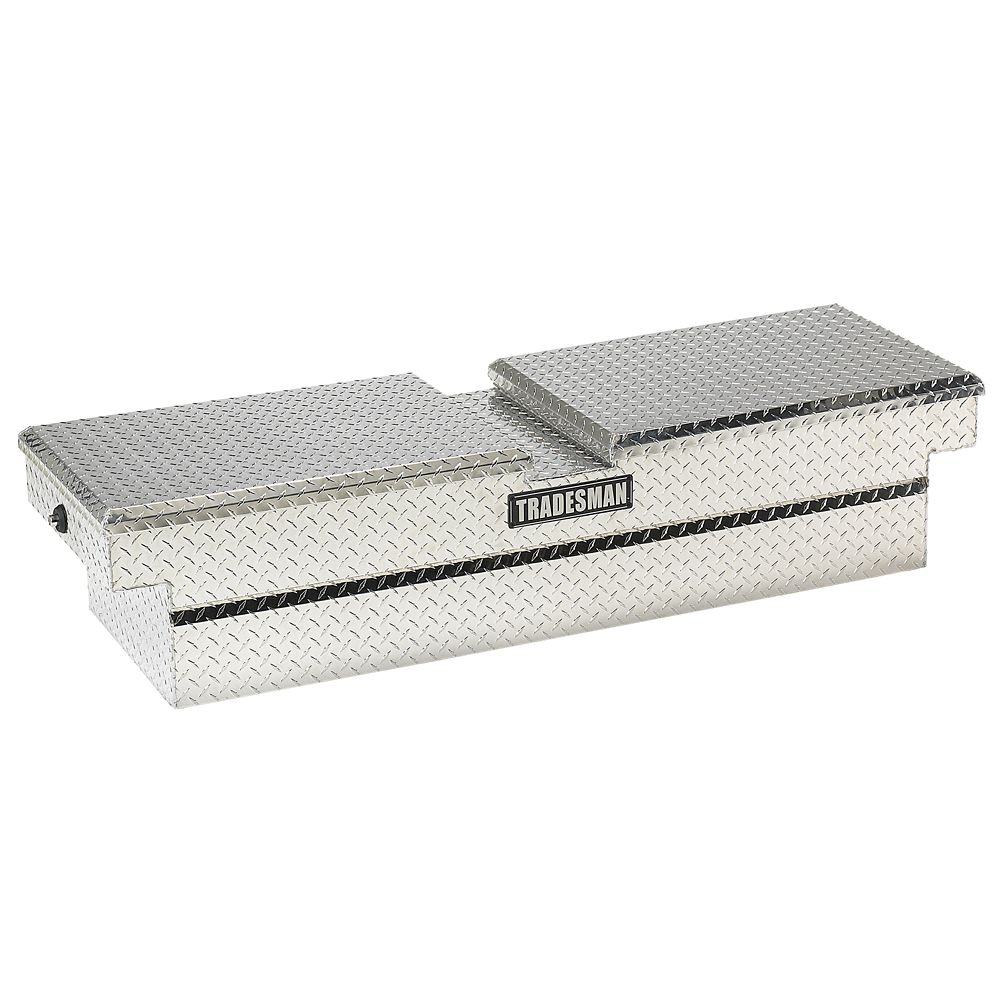 60  inch Cross Bed Truck Tool Box, Mid Size, Gull Wing, Push Button, Aluminum