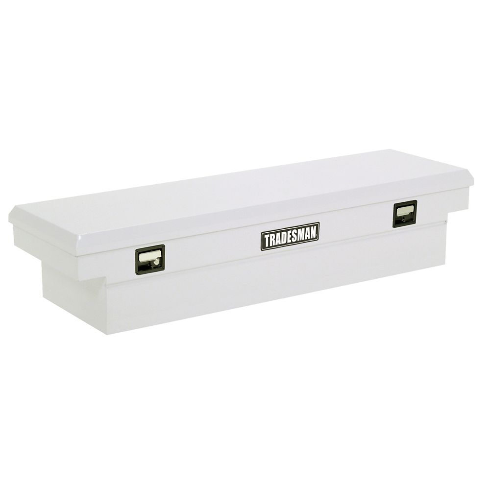 61  inch Cross Bed Truck Tool Box, Mid Size, Single Lid, Steel, White