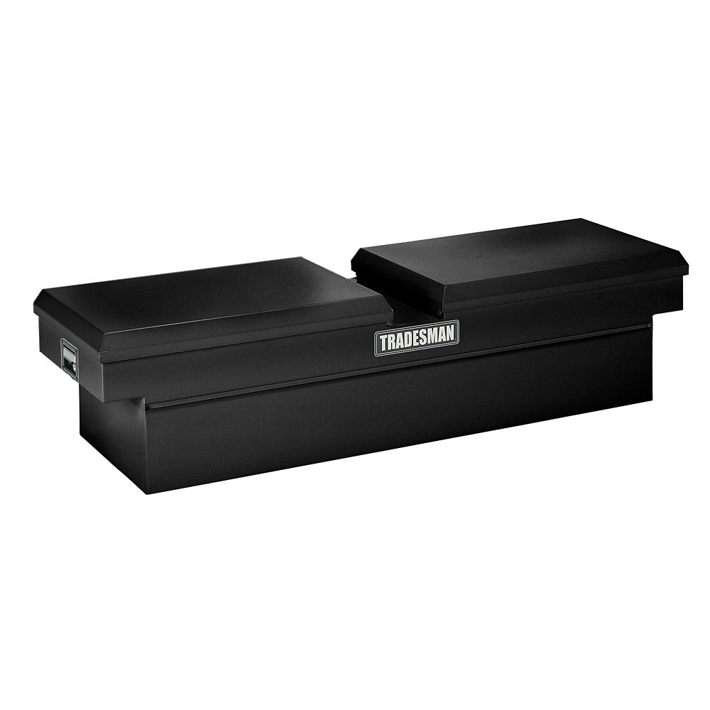61  inch Cross Bed Truck Tool Box, Mid Size, Gull Wing, Steel, Black
