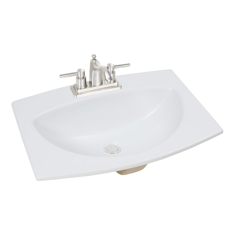 Glacier bay 24 inch w x 18 inch d rectangular drop in - Glacier bay drop in bathroom sink ...