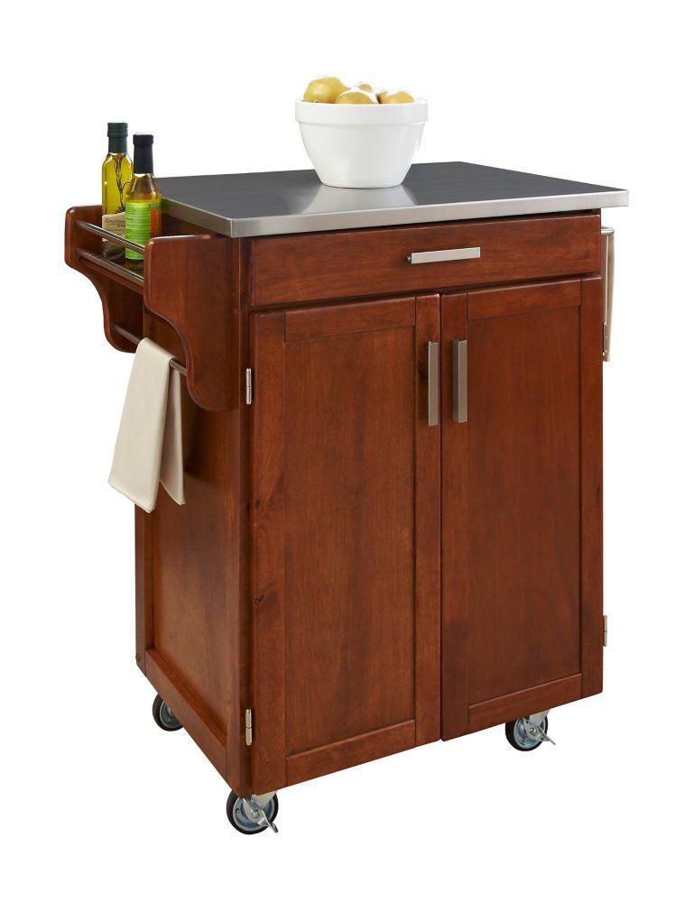 "Chariot de cuisine ""Cottage Oak""  dessus acier inoxydable"