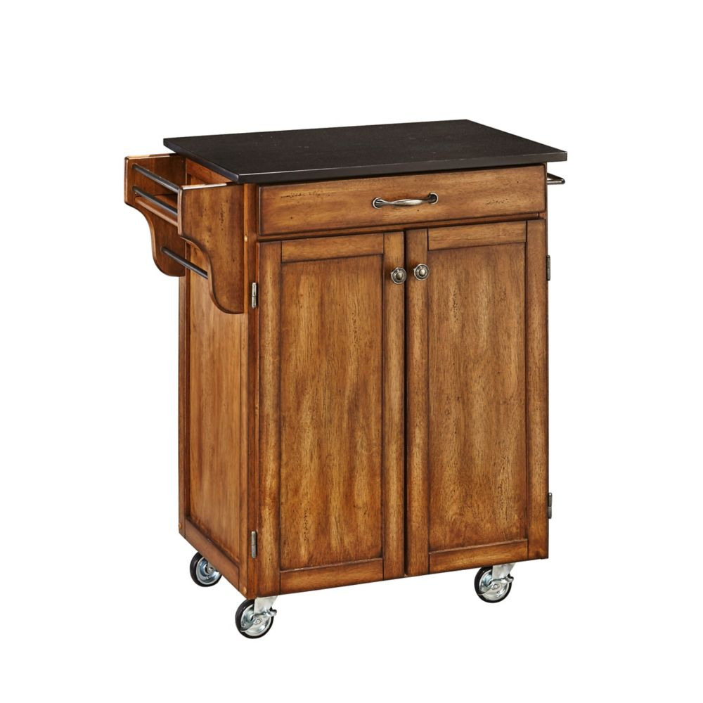Create A Cart Cottage Oak With Black Granite Top