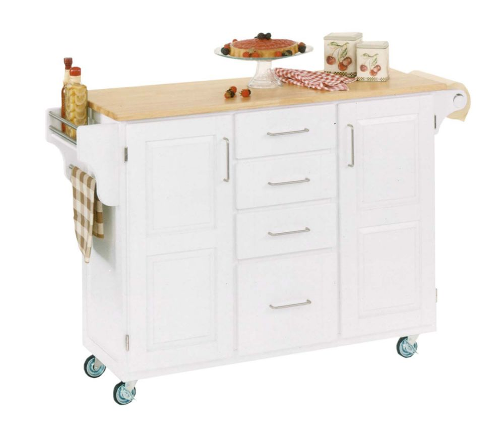 Kitchen Stools Home Depot: Home Styles Kitchen Island With Two Stools - White