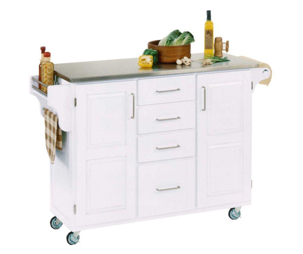 "Grand Chariot de cuisine ""Create"" blanc dessus acier inoxydable"