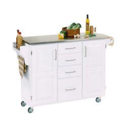 "Create A Cart Grand Chariot de cuisine ""Create"" blanc dessus acier inoxydable"