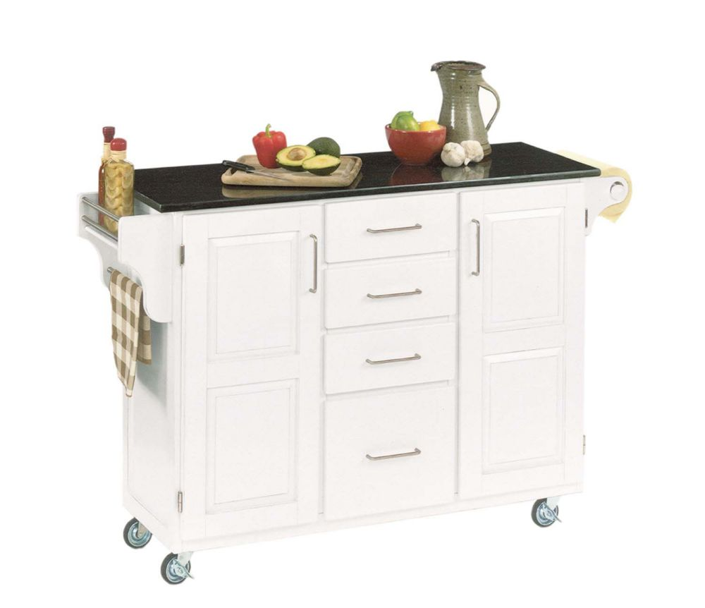 Create A Cart Large White With Black Granite Top