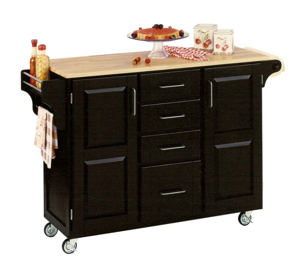 Create A Cart Large Black With Wood Top