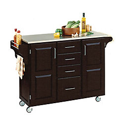 Create A Cart Large Black With Stainless Top