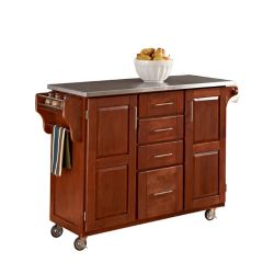 Create A Cart Large Cottage Oak With Stainless Top